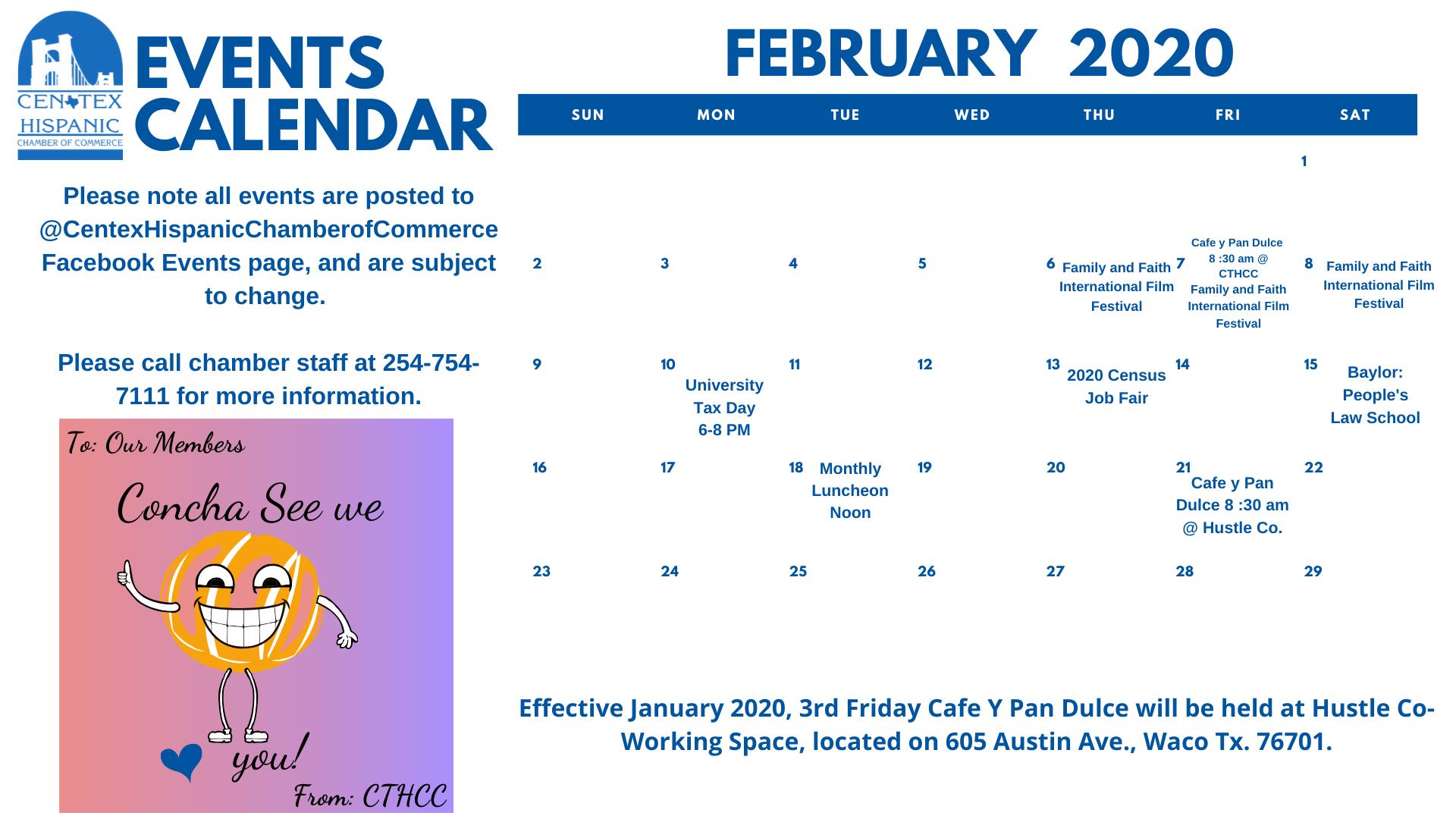 Feb 2020 CTHCC Calendar